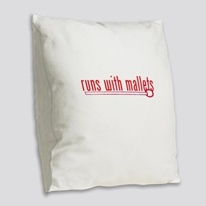 funny mallet Burlap Throw Pillow