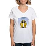 Rainy Day Penguin Women's V-Neck T-Shirt