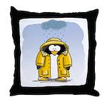 Rainy Day Penguin Throw Pillow