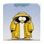 Rainy Day Penguin Tile Coaster