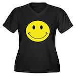 Smiley Face Women's Plus Size V-Neck Dark T-Shirt