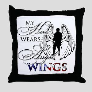 My Hero Wears Angel Wings Throw Pillow