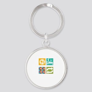 Eat Sleep Board Game Repeat Strategy Gam Keychains