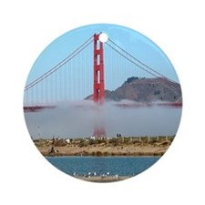 Golden Gate Bridge Fog - Gift Ornament Round