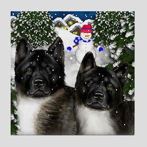 AKITA DOGS Winter Village Tile Coaster