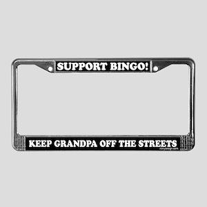 Support Bingo Grandpa License Plate Frame