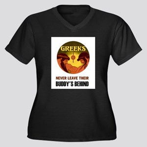 GREEKS Women's Plus Size V-Neck Dark T-Shirt
