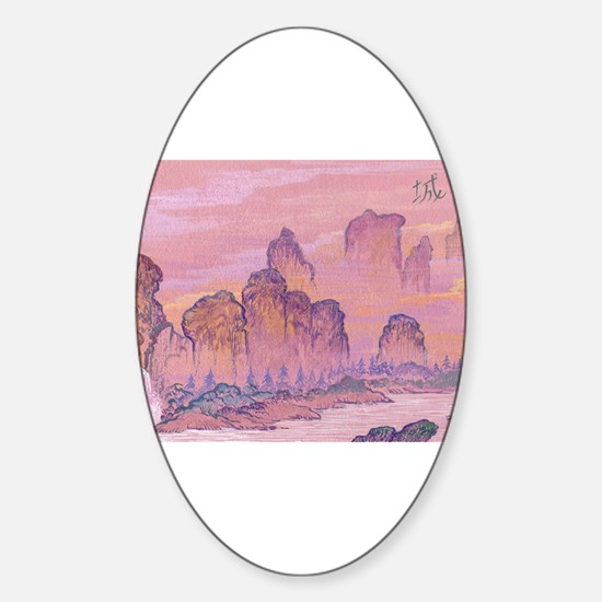 Chinese Scene Oval Decal