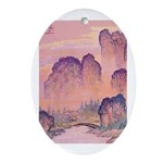 Chinese Mountains Oval Ornament