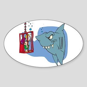 Here Fishy Fishy! Oval Sticker