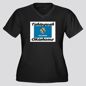 Tahlequah Oklahoma Women's Plus Size V-Neck Dark T