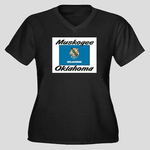 Muskogee Oklahoma Women's Plus Size V-Neck Dark T-