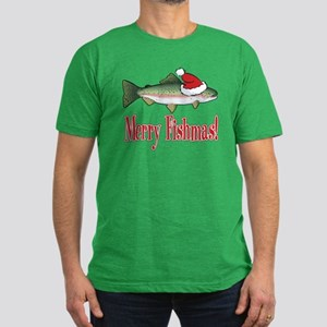 Merry Fishmas Men's Fitted T-Shirt (dark)