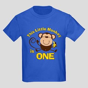 Little Monkey 1st Birthday Boy Kids Dark T-Shirt