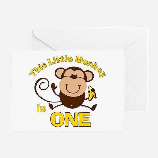 Little Monkey 1st Birthday Boy Greeting Card