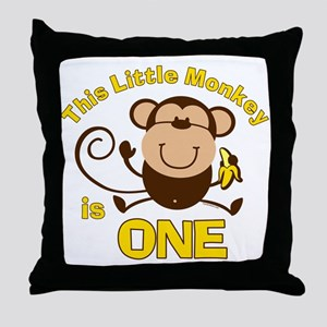 Little Monkey 1st Birthday Boy Throw Pillow