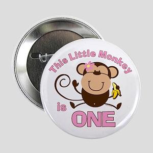 "Little Monkey 1st Birthday Girl 2.25"" Button"