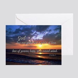 Sunset with Timothy verse Greeting Card