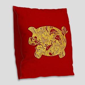 Flower Pattern Pig Burlap Throw Pillow