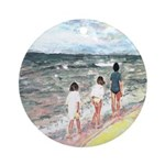 Girls On Beach Ornament (Round)