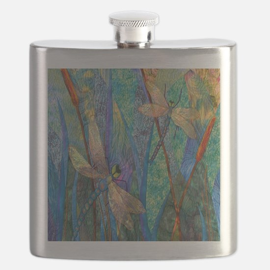 Colorful Dragonflies Flask