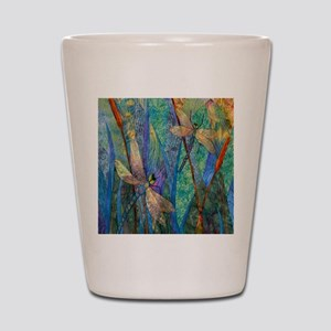 Colorful Dragonflies Shot Glass