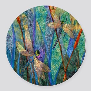 Colorful Dragonflies Round Car Magnet
