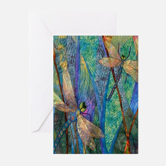 Colorful Dragonflies Greeting Cards