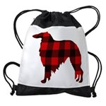 Borzoi Plaid Drawstring Bag