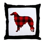 Borzoi Plaid Throw Pillow