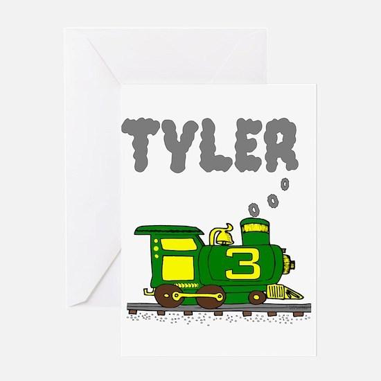 Tyler 3-Green & Yellow Train Greeting Card