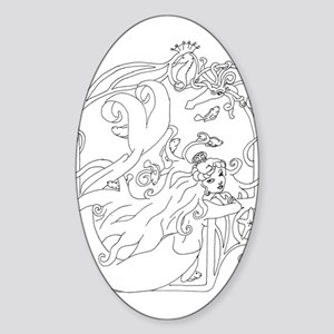 Mermaid with Squid Oval Sticker