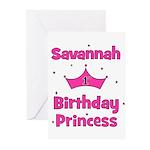 1st Birthday Princess Savanna Greeting Cards (Pk o