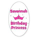 1st Birthday Princess Savanna Oval Sticker