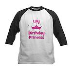 1st Birthday Princess Lily! Kids Baseball Jersey