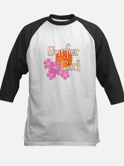 Little Surfer Girl Kids Baseball Jersey