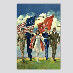 Vintage Patriotic Militar Postcards (Package of 8)