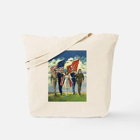 Vintage Patriotic Military Tote Bag