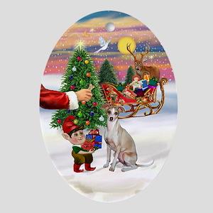 Santa's Italian Greyhound Treat Oval Ornament