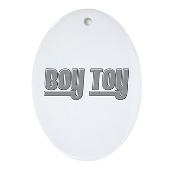 Boy Toy - Gray Oval Ornament