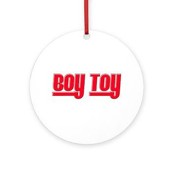 Boy Toy - Red Round Ornament
