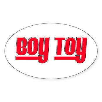 Boy Toy - Red Oval Sticker (50 pk)