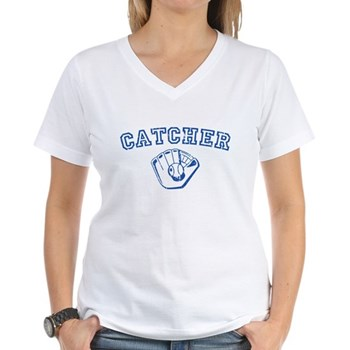 Catcher - Blue Women's V-Neck T-Shirt