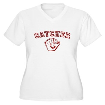 Catcher - Red Women's Plus Size V-Neck T-Shirt