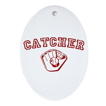 Catcher - Red Oval Ornament