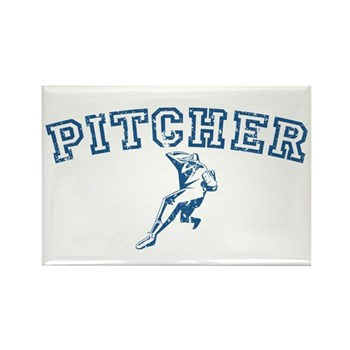 Pitcher - Blue Rectangle Magnet (10 pack)