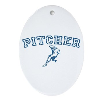 Pitcher - Blue Oval Ornament
