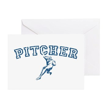 Pitcher - Blue Greeting Cards (10 pack)