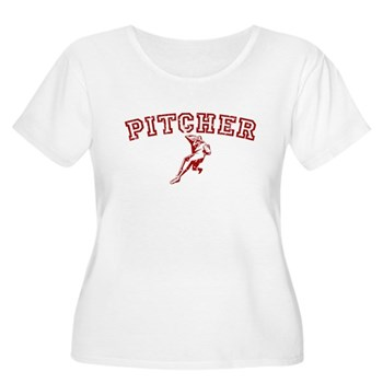 Pitcher - Red Women's Plus Size Scoop Neck T-Shirt