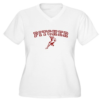 Pitcher - Red Women's Plus Size V-Neck T-Shirt